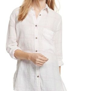 Free People No Limits Plaid Linen Button Down S